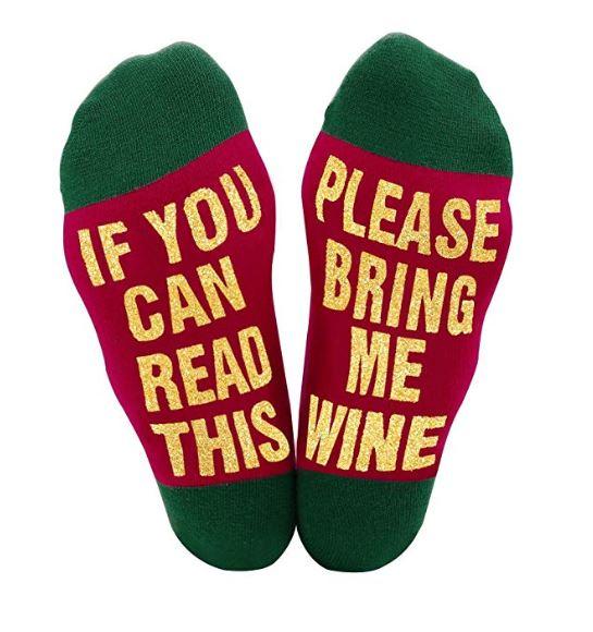 bring me wine funny christmas socks - Funny Christmas Socks