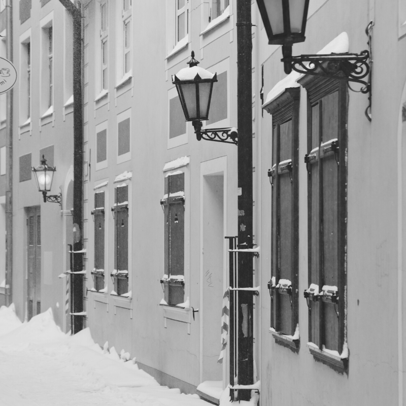 Black and white image of houses and snow