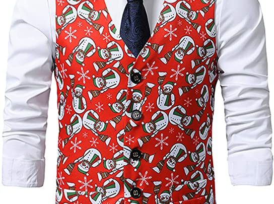 christmas waistcoats mens red colour