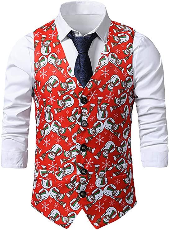 christmas waistcoats mens red colour