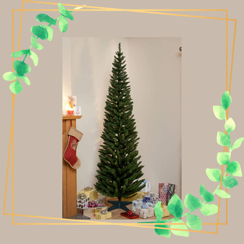 Thin Christmas Tree with a frame around it